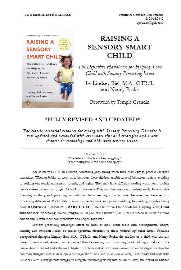 Raisng a Sensory Smart Child Press Release