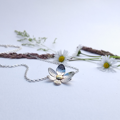 Small Embossed Flower Necklace