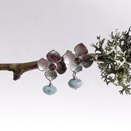 Beaded Hydrangea Drop Earrings