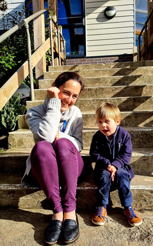 Chatting on the steps!
