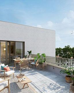 terrasse appartement nantes projet faubourg 14 batinantes avec mobilier de jardin bois et plantes agence dekode deco interieure nantes