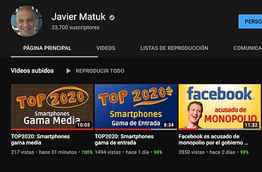 Canal de Javier Matuk en YouTube