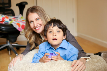 Maureen and her former foster child with autism.