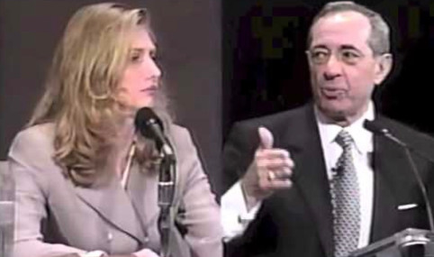 Maureen and Former Governor Mario Cuomo discussing education policy.