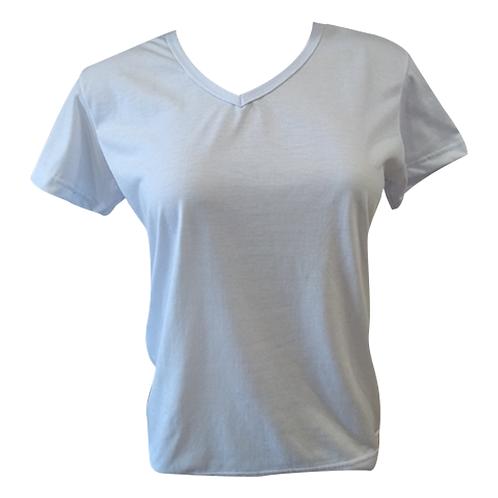 Camiseta Baby Look Branca Feminina Gola V