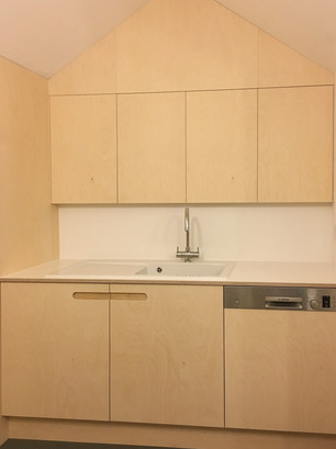 Birch Ply and White Formica Kitchen wet