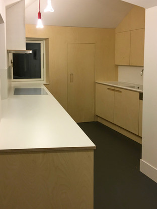 Birch Ply and White Formica Kitchen