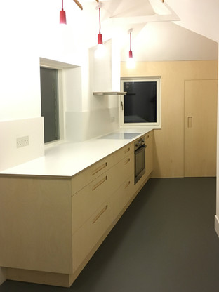Birch Ply and White Formica Kitchen 2