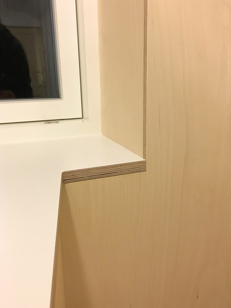 Birch Ply and White Formica Kitchen work