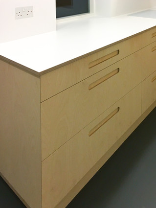 Birch Ply and White Formica Kitchen Draw