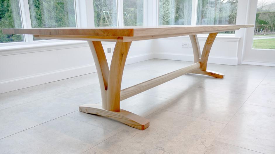 Scottish Elm dining table low shot