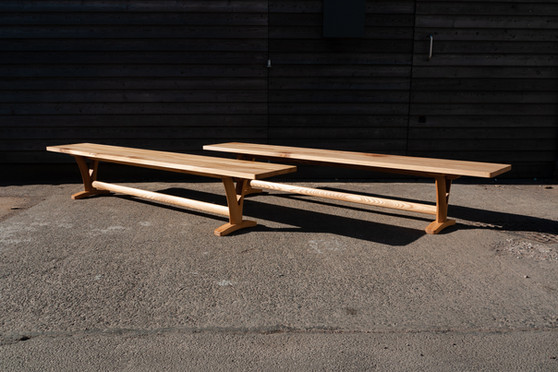 Solid Elm Pair of Benches 1