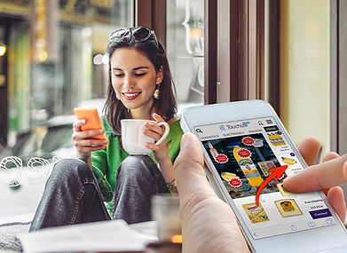 Girl With Coffee Cup Swiping Products To The Cart