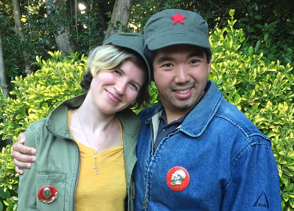 Young couple in fatigues with red stars and Mao buttons
