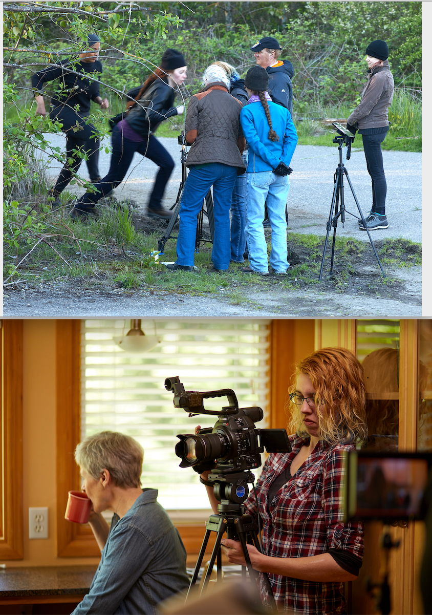 top: crew watches as Ronee and Amria run. bottom: Janet takes a break as Anastasia sets up the shot.