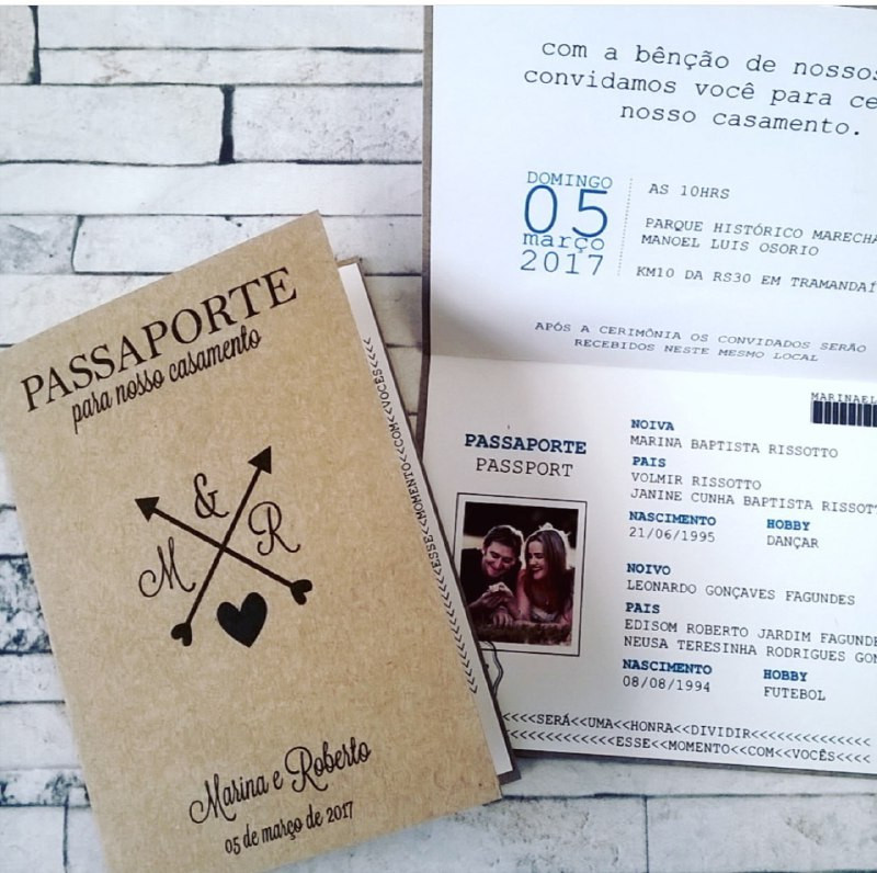 Convite criativo em formato de passaporte