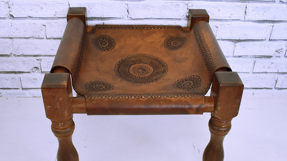 Engraved Leather Footstool- 3 day hire