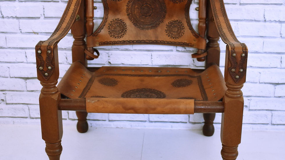 Engraved Mandala Leather Chair- 3 day hire