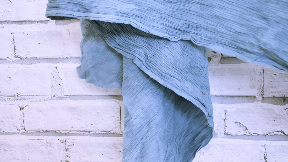 Hand Dyed Blue Table Runner- 3 day hire