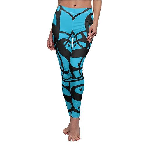 S Women's Cut & Sew Casual Leggings (Blue/Black Logo)