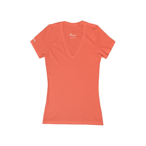 Women's Jersey Short Sleeve Deep V-Neck Tee (White Print)