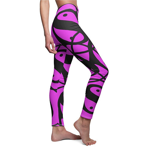 S Women's Cut & Sew Casual Leggings (Pink/Black Logo