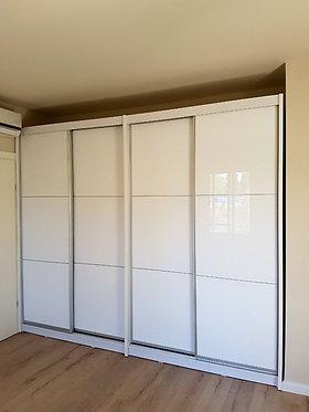 ארון הזזה 4 דלתות HIGH GLOSS לבן 300/240