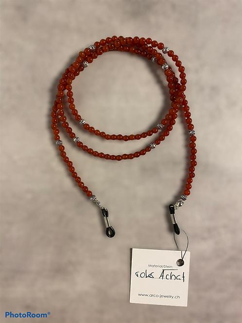 Brillenband / Brillenkette Edelstein roter Achat