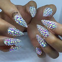 full set swarovski crystal tiletto nails nail art