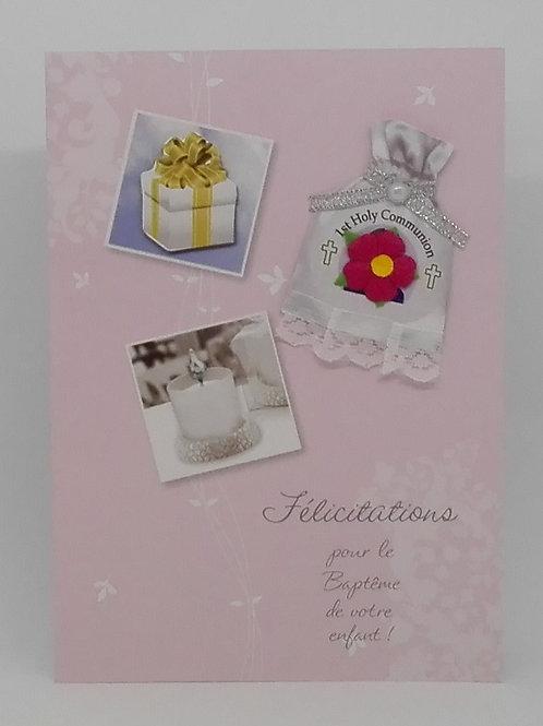 Carte baptême cadeau et bougie