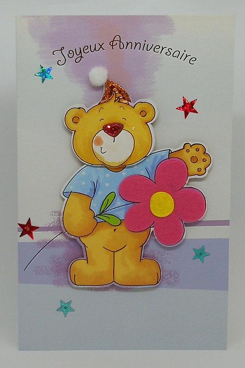 Carte d'anniversaire enfant Ourse et fleur