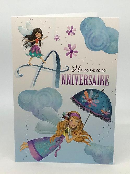Carte heureux anniversaire avec une fee et son parapluie