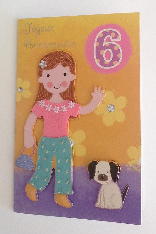 Carte anniversaire fille et chien 6 ans