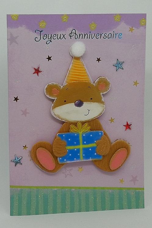 Carte d'anniversaire enfant Ourse