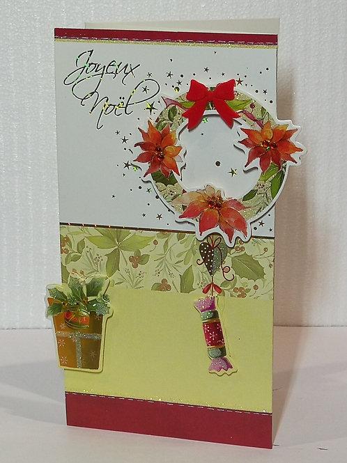 Carte de Joyeux Noël couronne 002