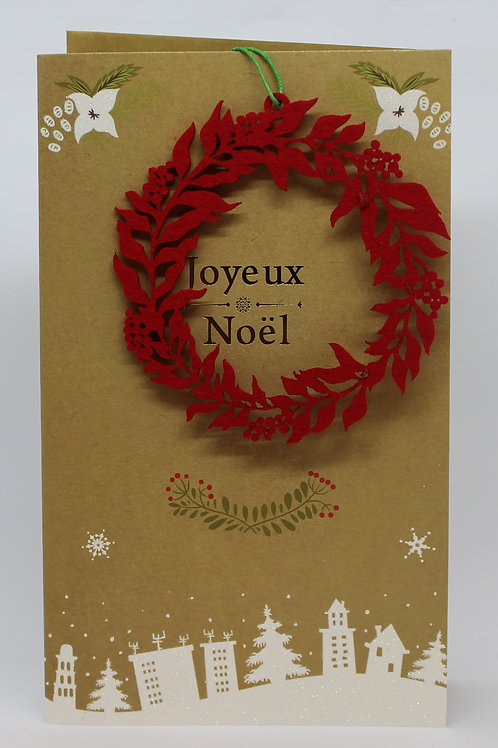 Carte de Joyeux Noël couronne