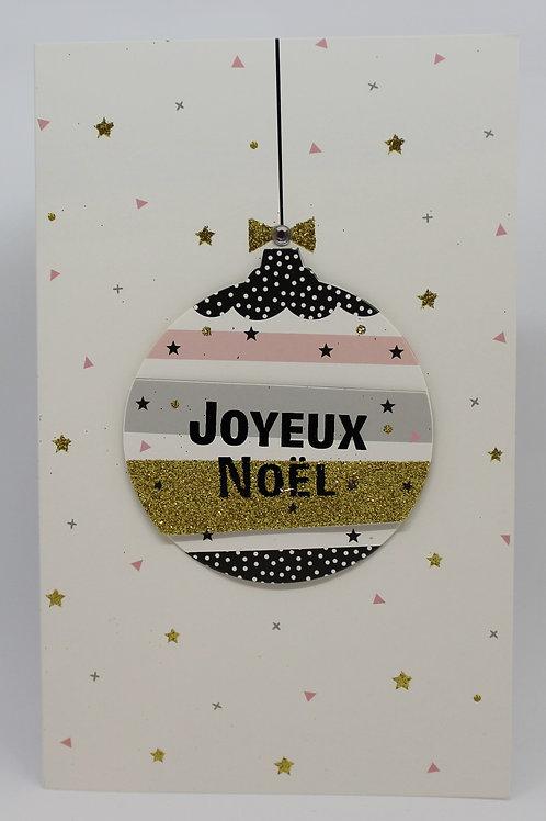 Carte de Joyeux Noël boule moderne