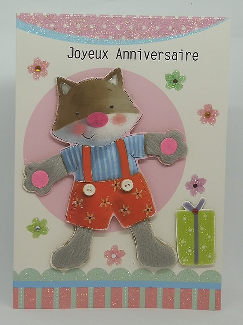 Carte anniversaire musicale chat