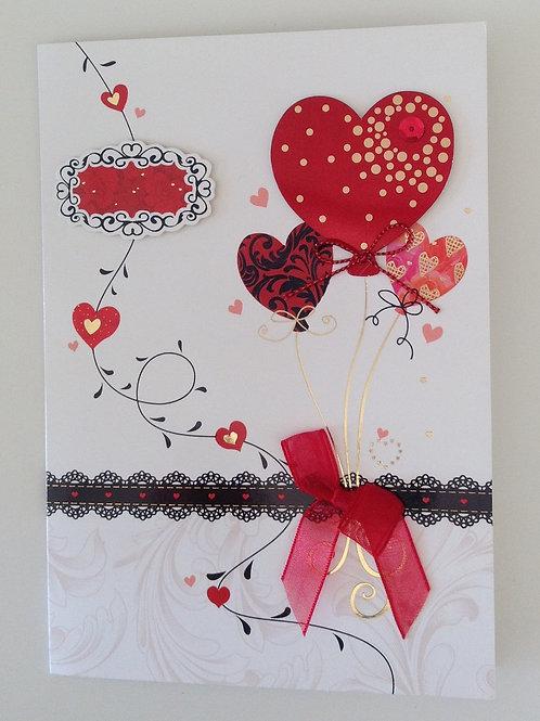 Carte St Valentin Ballons coeurs