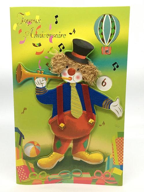 Carte Joyeux Anniversaire enfant avec clown