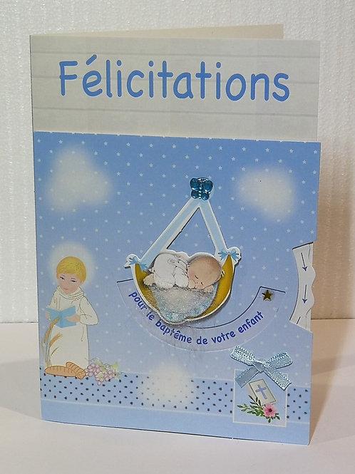 Carte baptême avec un ange et un bébé