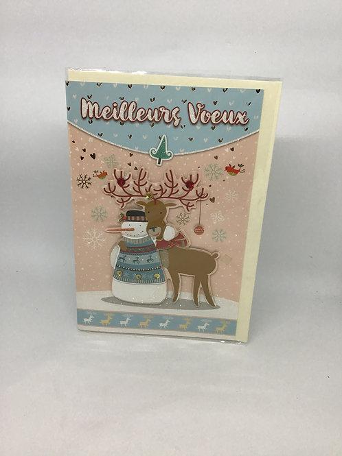 Carte meilleurs voeux bonhomme de neige et renne