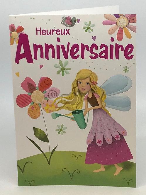 Carte heureux anniversaire avec une fee-pour les filles