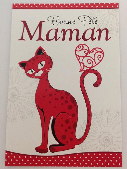 Carte Bonne fête maman avec un chat