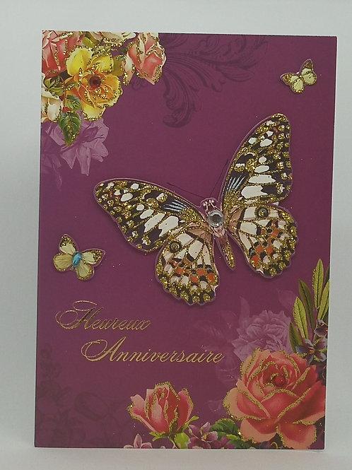 Carte anniversaire femme Papillon