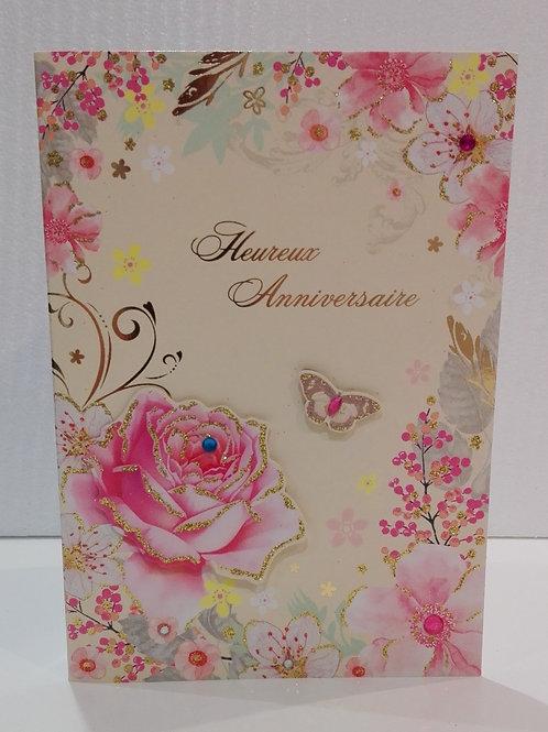 Carte anniversaire fleurs et papillon