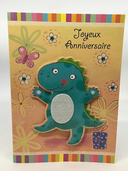Carte Joyeux Anniversaire avec un crocodile et les fleurs