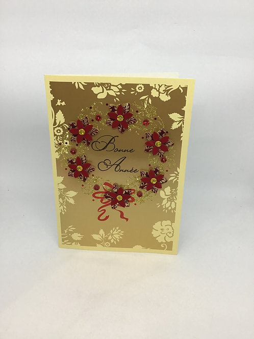 Carte bonne année couronne fleurs rouges