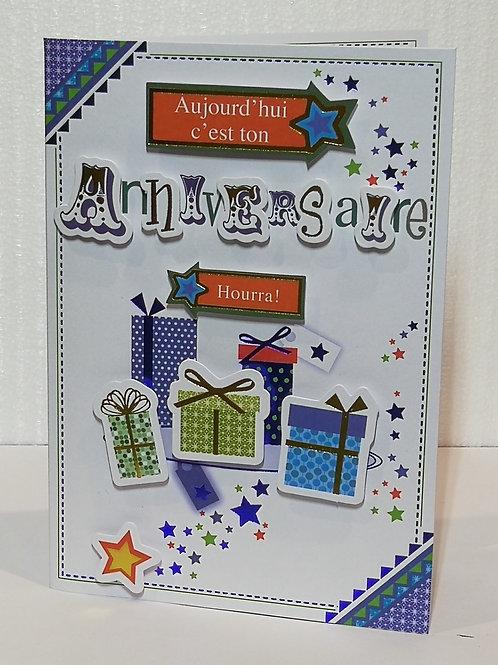 Carte d'anniversaire cadeaux et étoiles