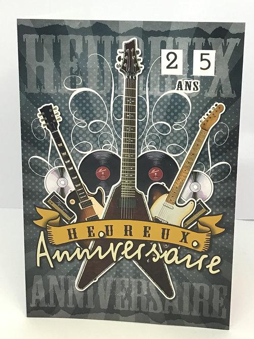Carte heureux anniversaire avec les guitares